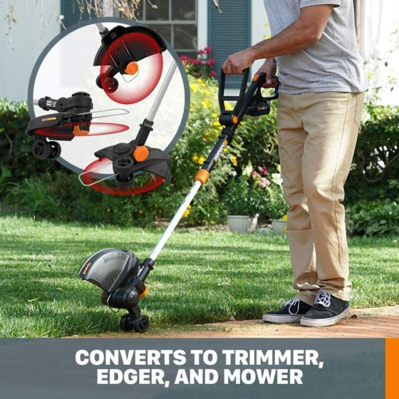 Converts to trimmer, edger and mower